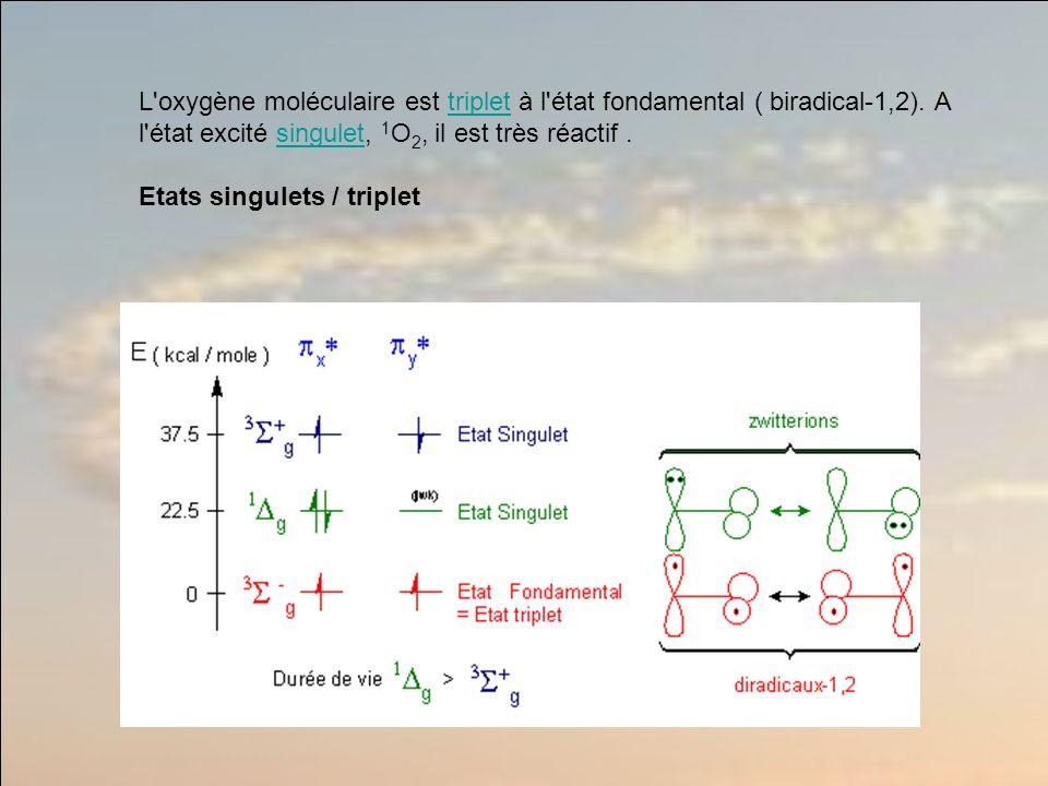 L oxygène moléculaire est triplet à l état fondamental ( biradical-1,2). A l état excité singulet, 1O2, il est très réactif .