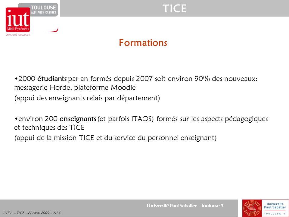 Formations 2000 étudiants par an formés depuis 2007 soit environ 90% des nouveaux: messagerie Horde, plateforme Moodle.