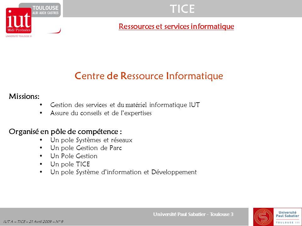 Ressources et services informatique