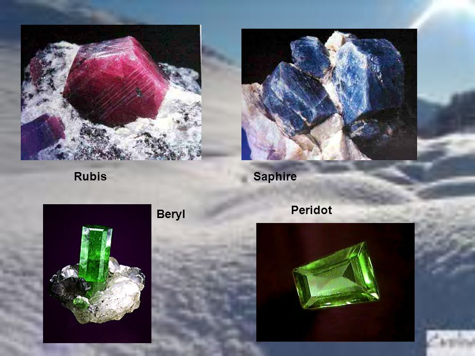 Rubis Saphire Peridot Beryl
