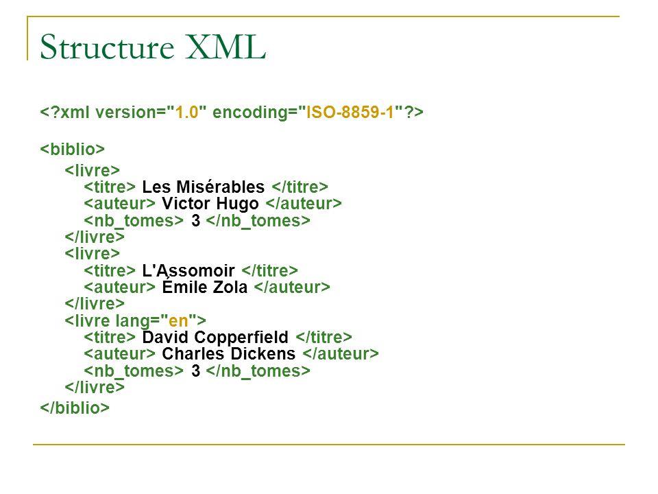 Structure XML < xml version= 1.0 encoding= ISO-8859-1 >