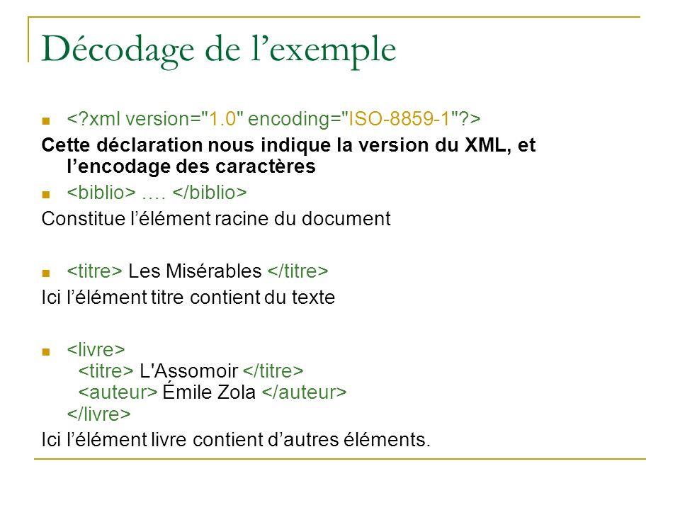 Décodage de l'exemple < xml version= 1.0 encoding= ISO-8859-1 > Cette déclaration nous indique la version du XML, et l'encodage des caractères.