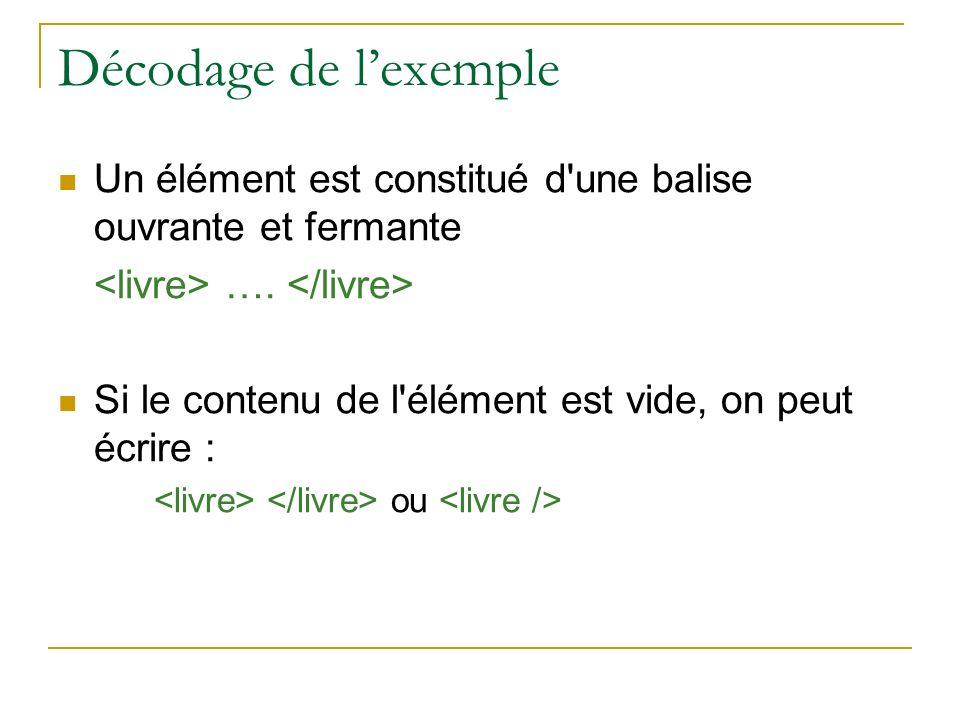 Décodage de l'exemple Un élément est constitué d une balise ouvrante et fermante. <livre> …. </livre>