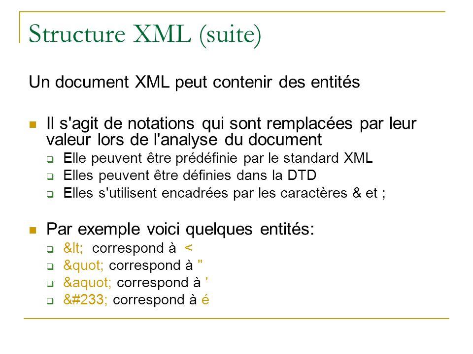 Structure XML (suite) Un document XML peut contenir des entités