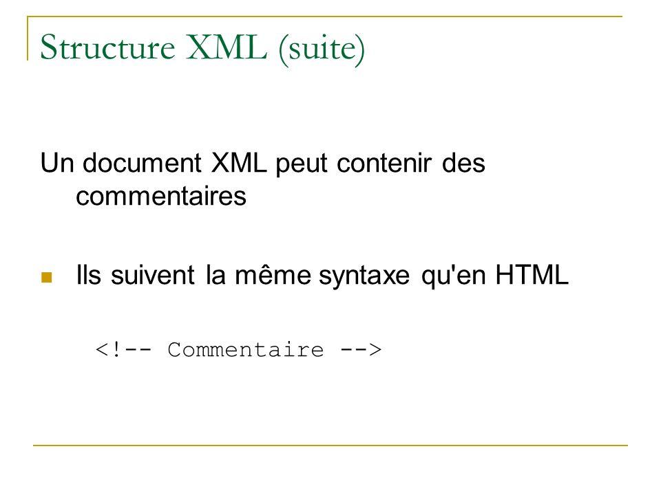Structure XML (suite) Un document XML peut contenir des commentaires