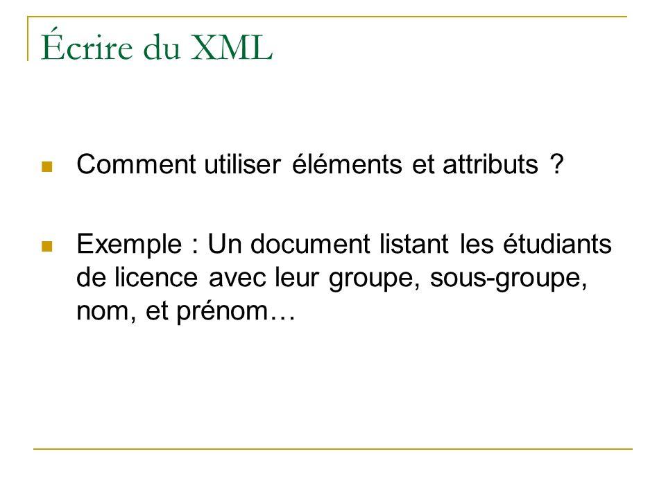 Écrire du XML Comment utiliser éléments et attributs