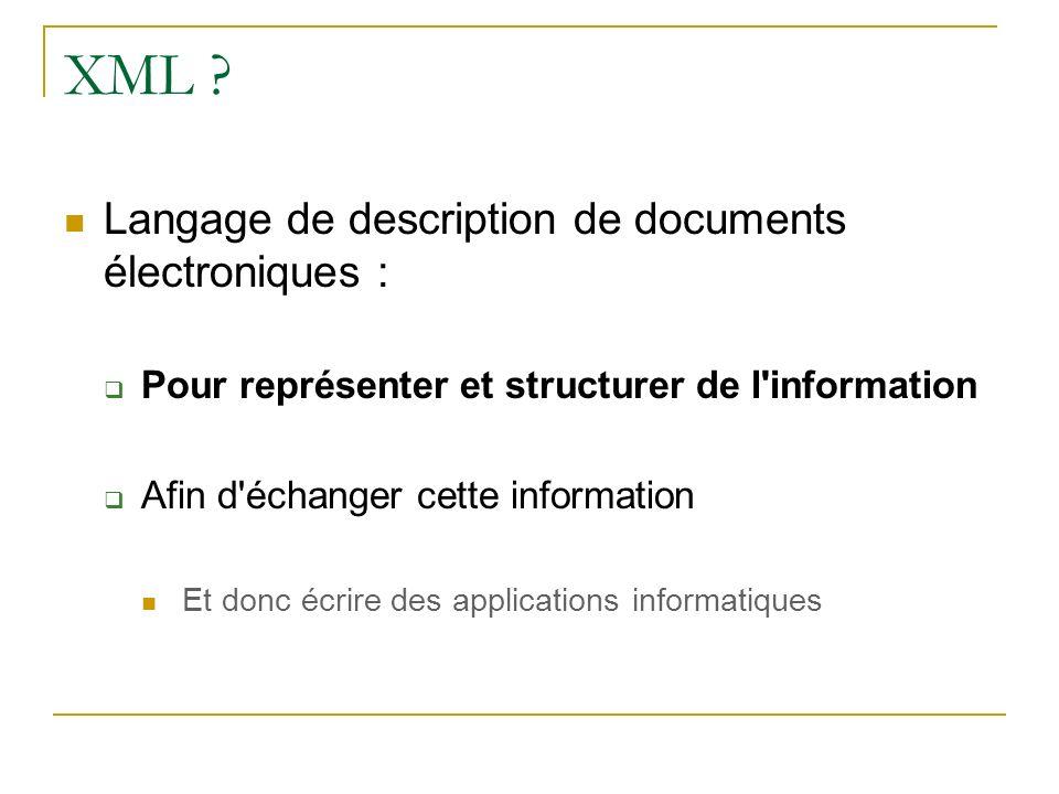 XML Langage de description de documents électroniques :