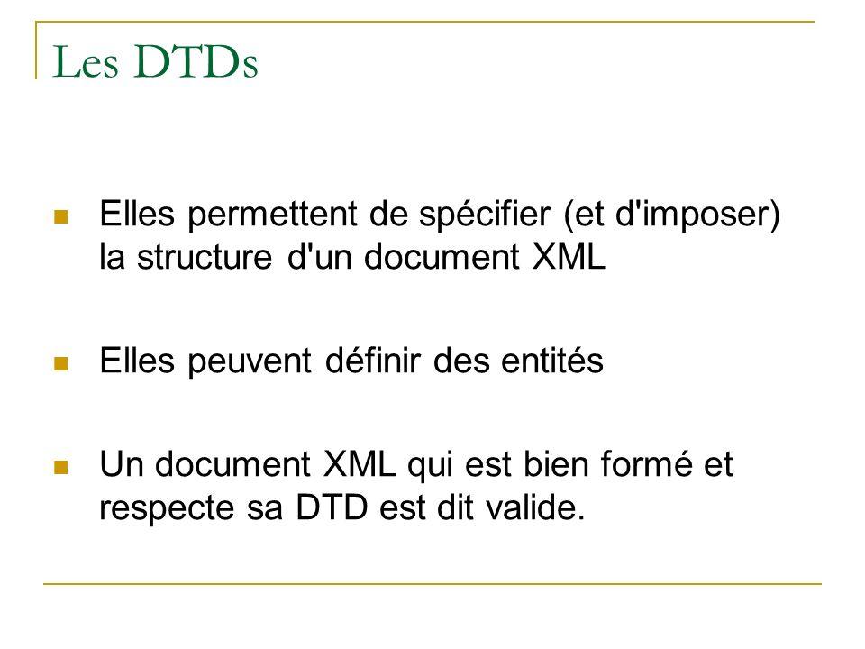 Les DTDs Elles permettent de spécifier (et d imposer) la structure d un document XML. Elles peuvent définir des entités.