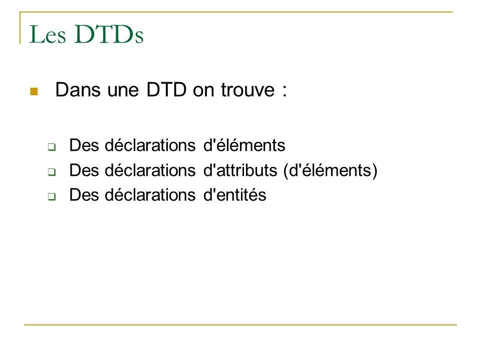 Les DTDs Dans une DTD on trouve : Des déclarations d éléments