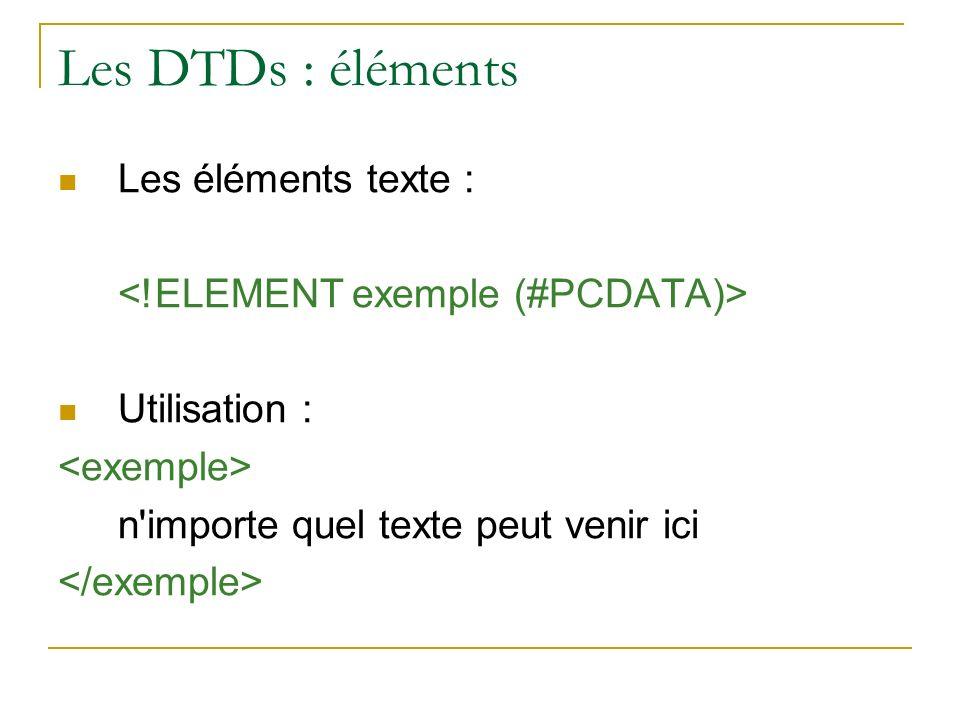 Les DTDs : éléments Les éléments texte :