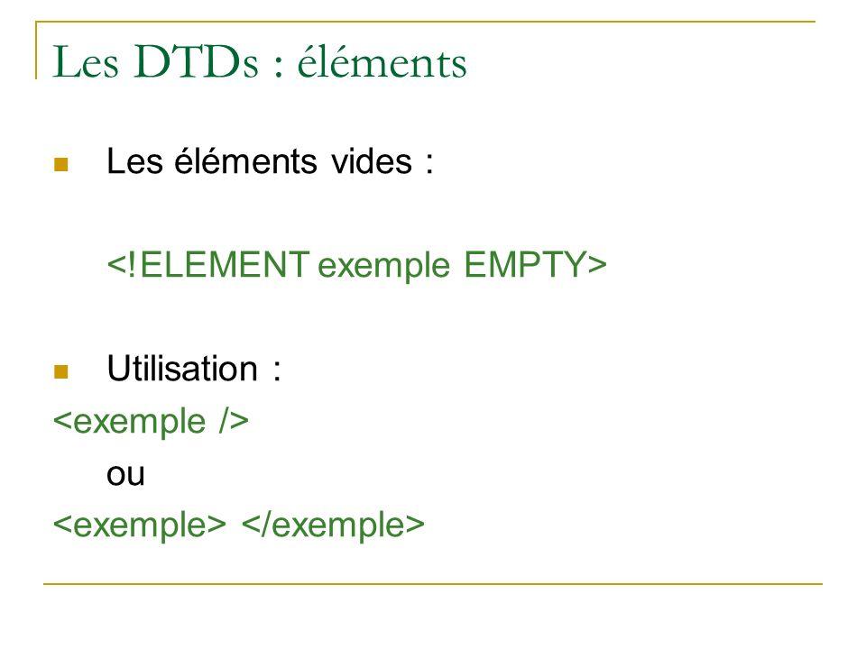 Les DTDs : éléments Les éléments vides :