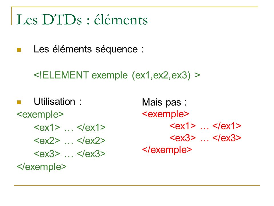 Les DTDs : éléments Les éléments séquence :