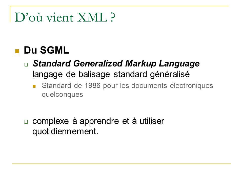 D'où vient XML Du SGML. Standard Generalized Markup Language langage de balisage standard généralisé.