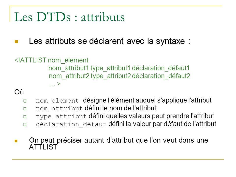 Les DTDs : attributs Les attributs se déclarent avec la syntaxe : Où