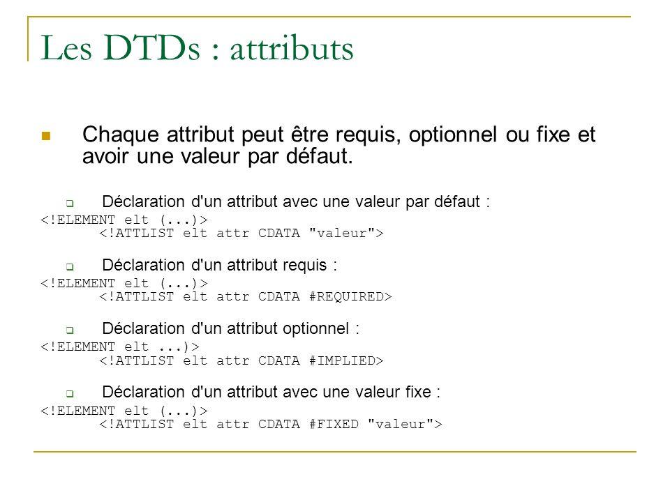 Les DTDs : attributs Chaque attribut peut être requis, optionnel ou fixe et avoir une valeur par défaut.