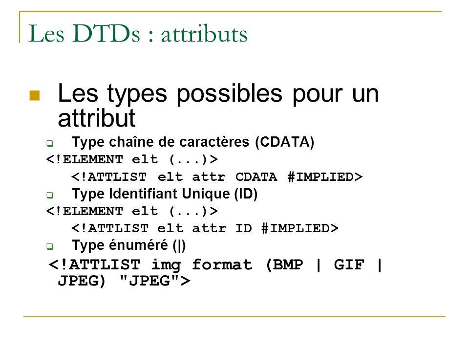 Les DTDs : attributs Les types possibles pour un attribut