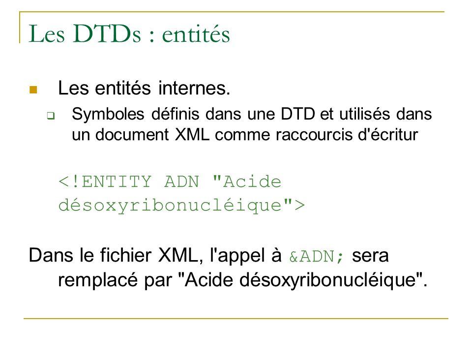 Les DTDs : entités Les entités internes.