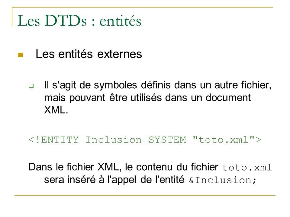 Les DTDs : entités Les entités externes