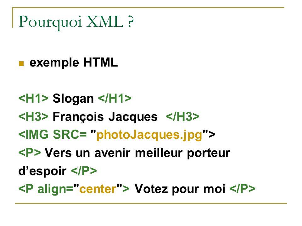 Pourquoi XML exemple HTML <H1> Slogan </H1>