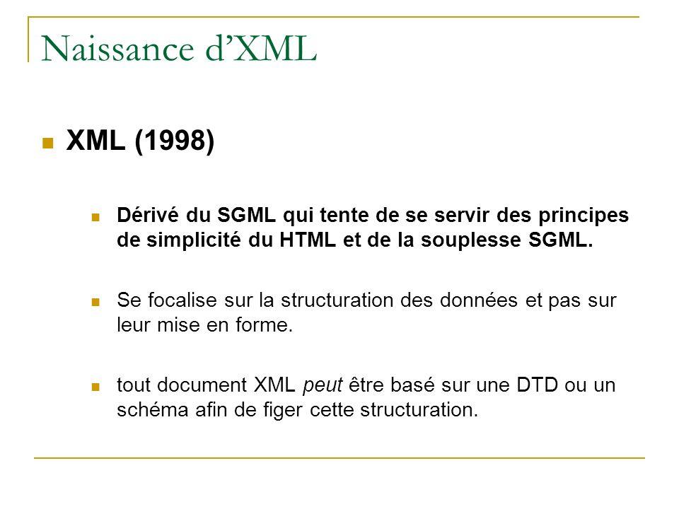 Naissance d'XML XML (1998) Dérivé du SGML qui tente de se servir des principes de simplicité du HTML et de la souplesse SGML.