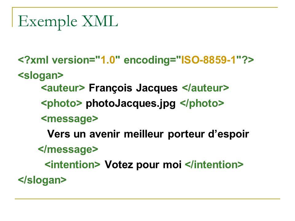 Exemple XML < xml version= 1.0 encoding= ISO-8859-1 >