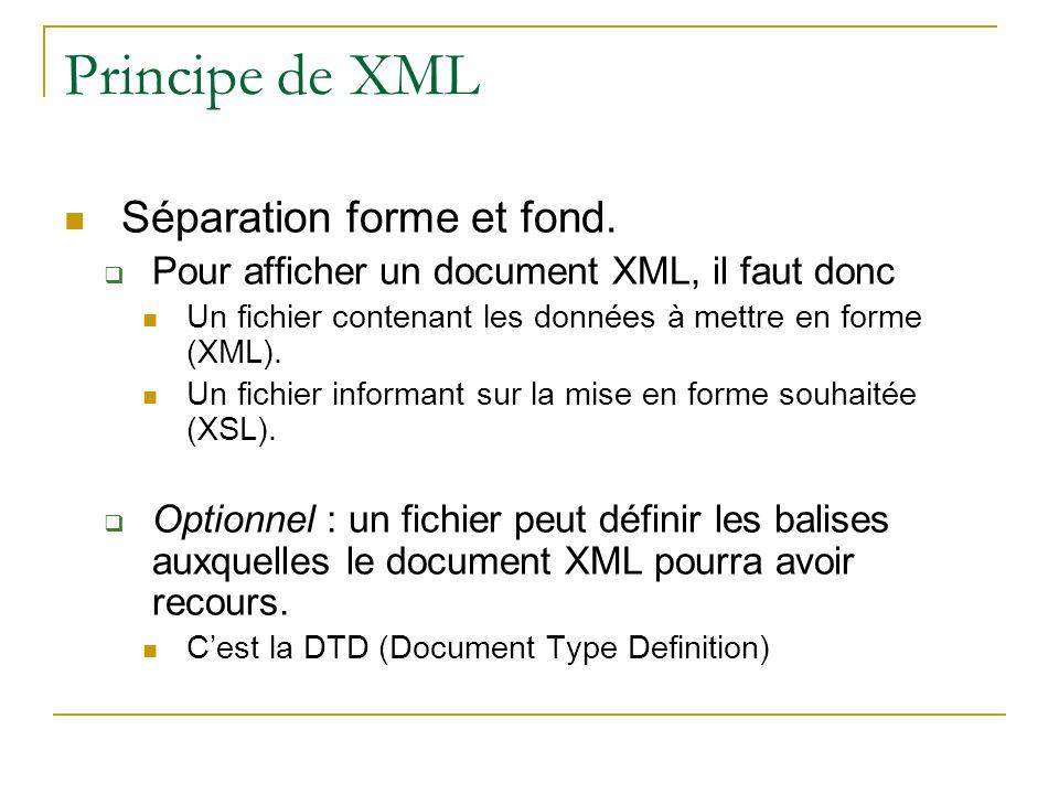 Principe de XML Séparation forme et fond.