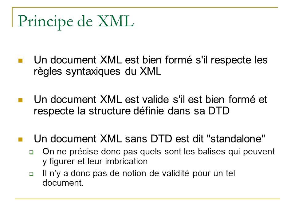 Principe de XML Un document XML est bien formé s il respecte les règles syntaxiques du XML.