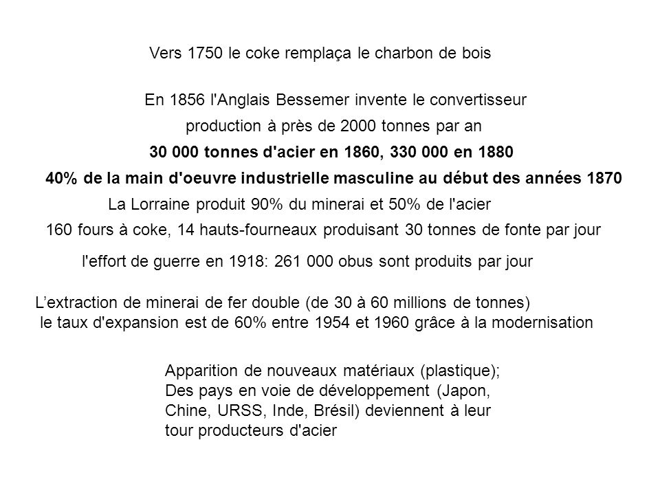 Vers 1750 le coke remplaça le charbon de bois