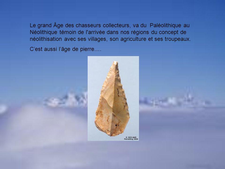 Le grand Âge des chasseurs collecteurs, va du Paléolithique au Néolithique témoin de l arrivée dans nos régions du concept de néolithisation avec ses villages, son agriculture et ses troupeaux.