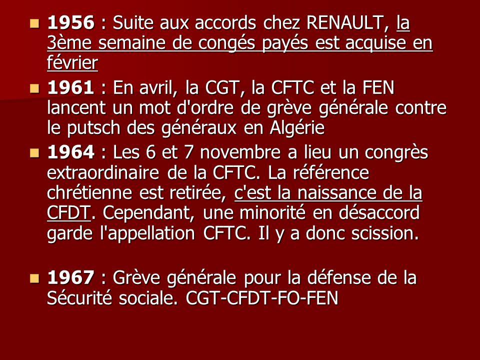 1956 : Suite aux accords chez RENAULT, la 3ème semaine de congés payés est acquise en février