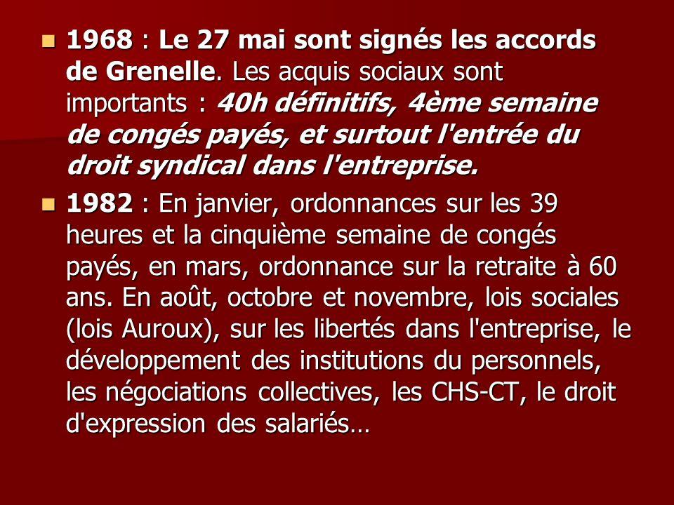 1968 : Le 27 mai sont signés les accords de Grenelle