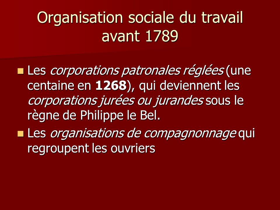 Organisation sociale du travail avant 1789