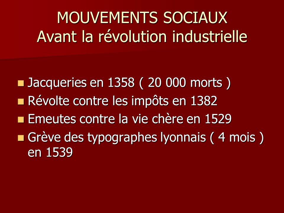 MOUVEMENTS SOCIAUX Avant la révolution industrielle