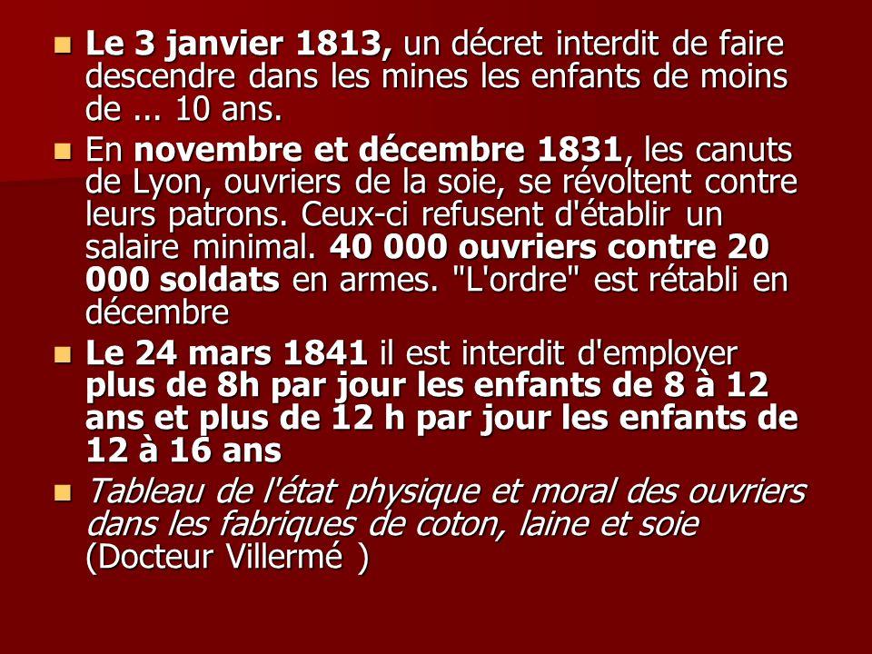 Le 3 janvier 1813, un décret interdit de faire descendre dans les mines les enfants de moins de ... 10 ans.