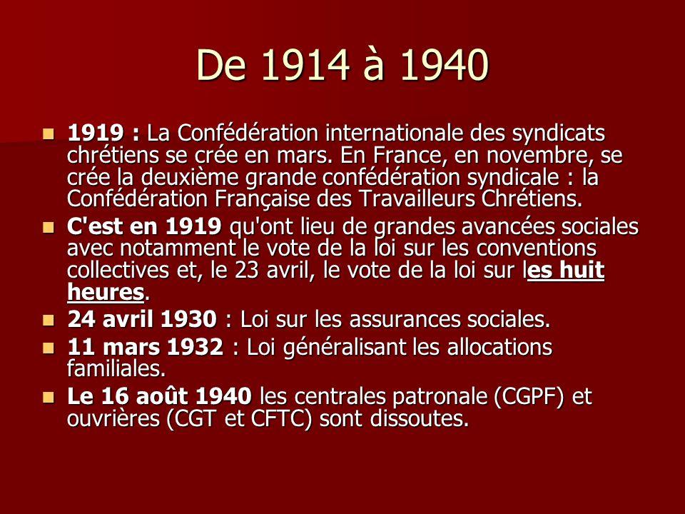 De 1914 à 1940