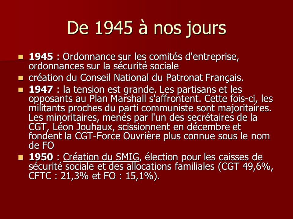 De 1945 à nos jours 1945 : Ordonnance sur les comités d entreprise, ordonnances sur la sécurité sociale.