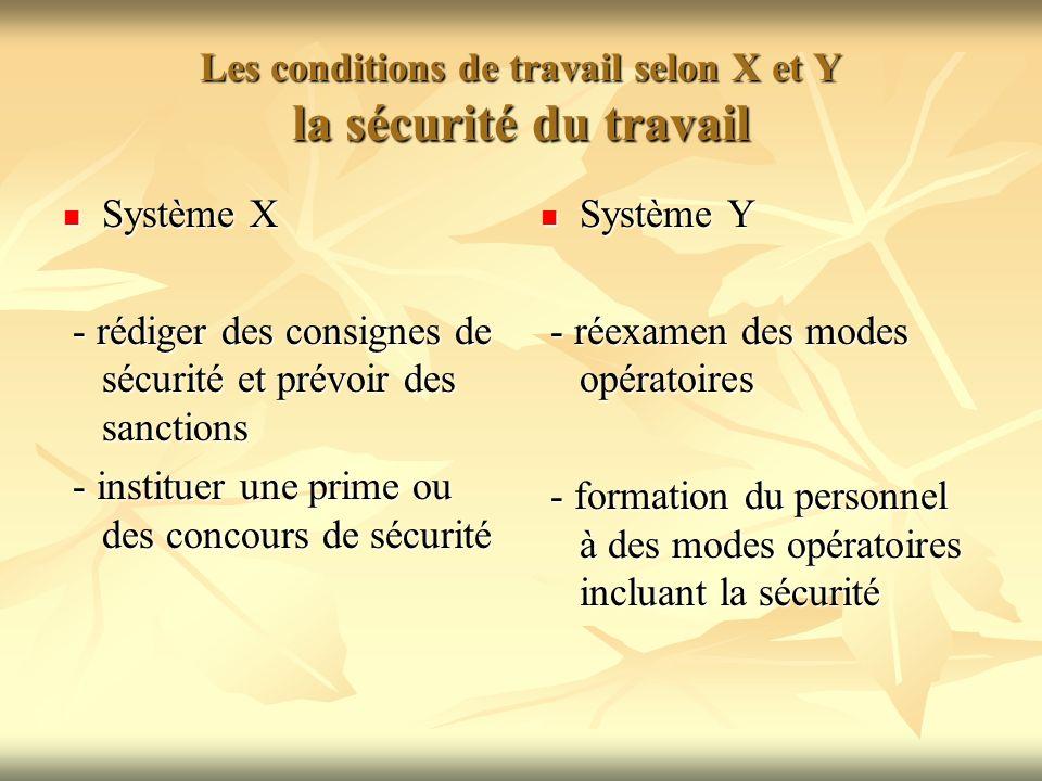 Les conditions de travail selon X et Y la sécurité du travail