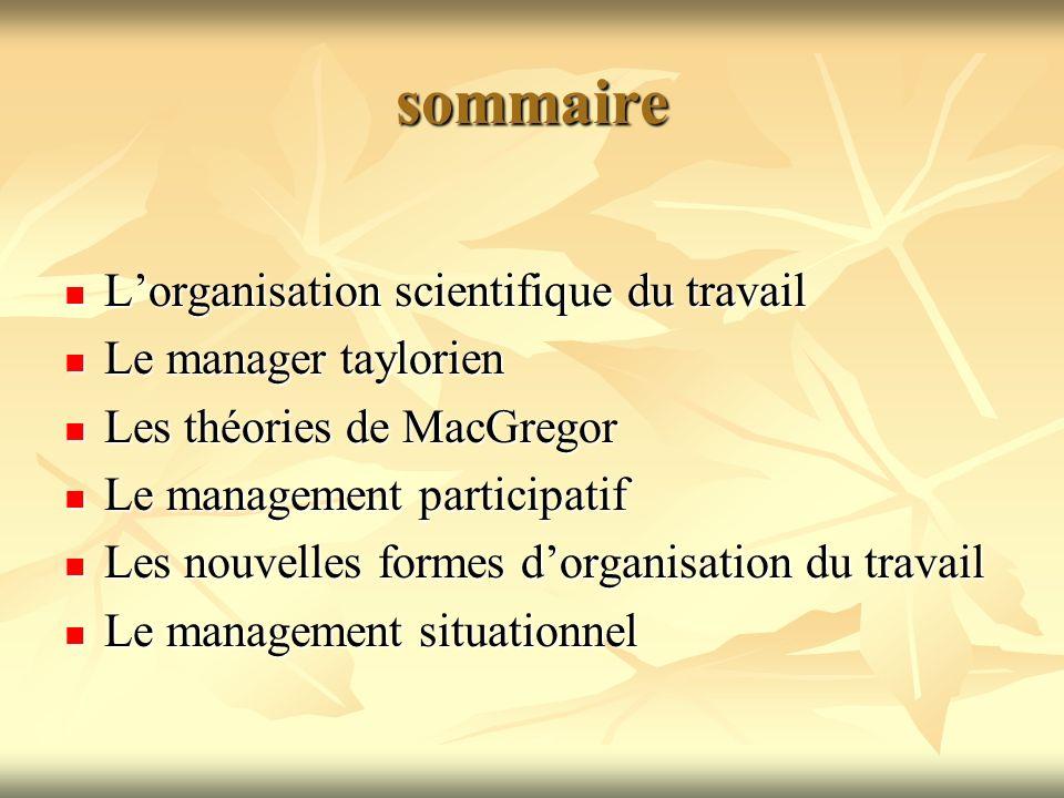 sommaire L'organisation scientifique du travail Le manager taylorien
