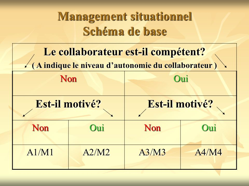 Management situationnel Schéma de base