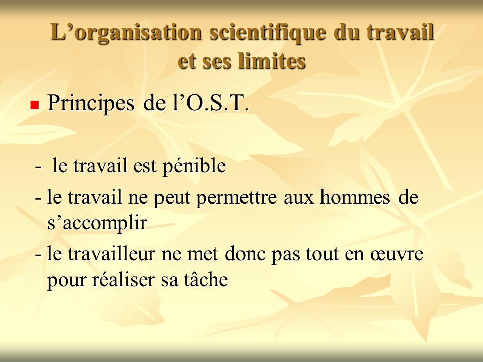L'organisation scientifique du travail et ses limites