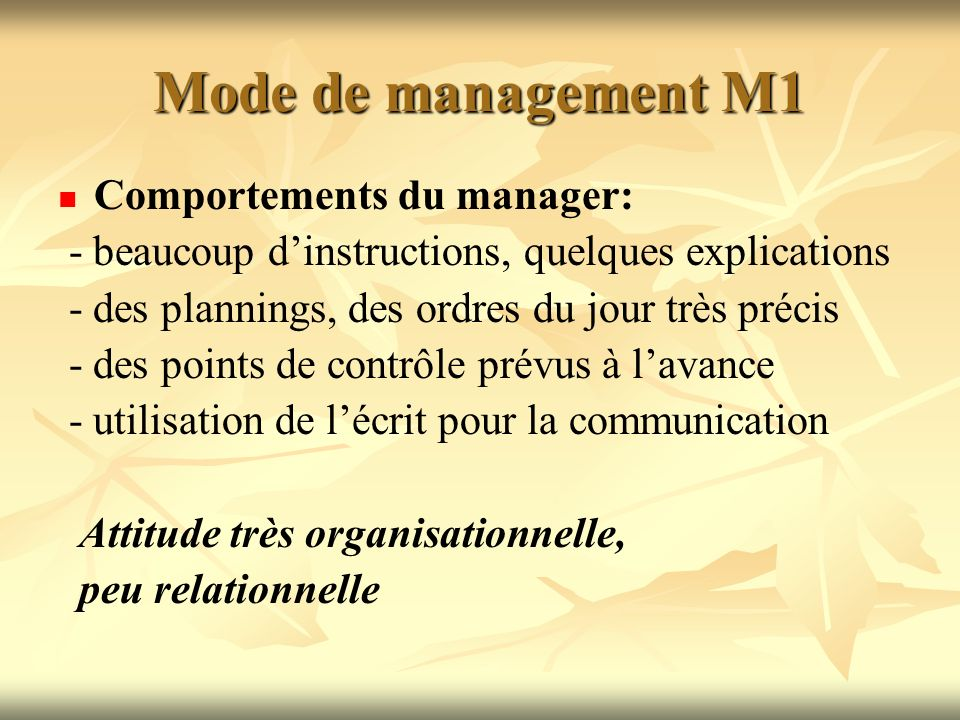 Mode de management M1 Comportements du manager: