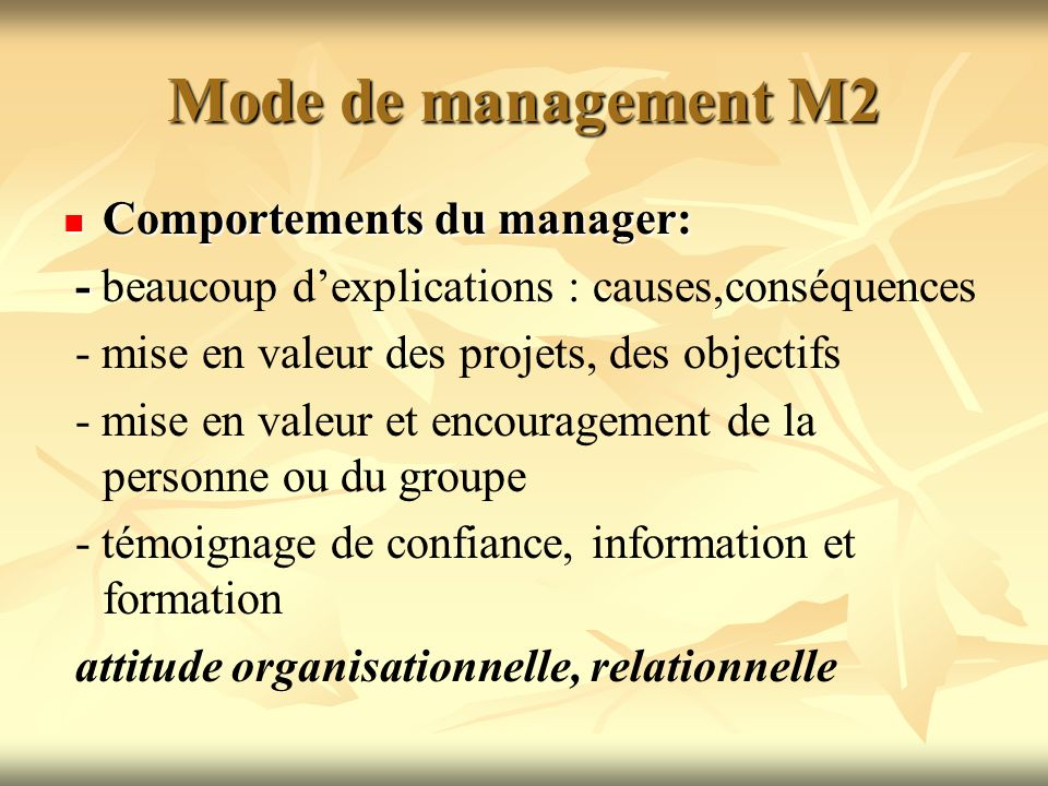 Mode de management M2 Comportements du manager: