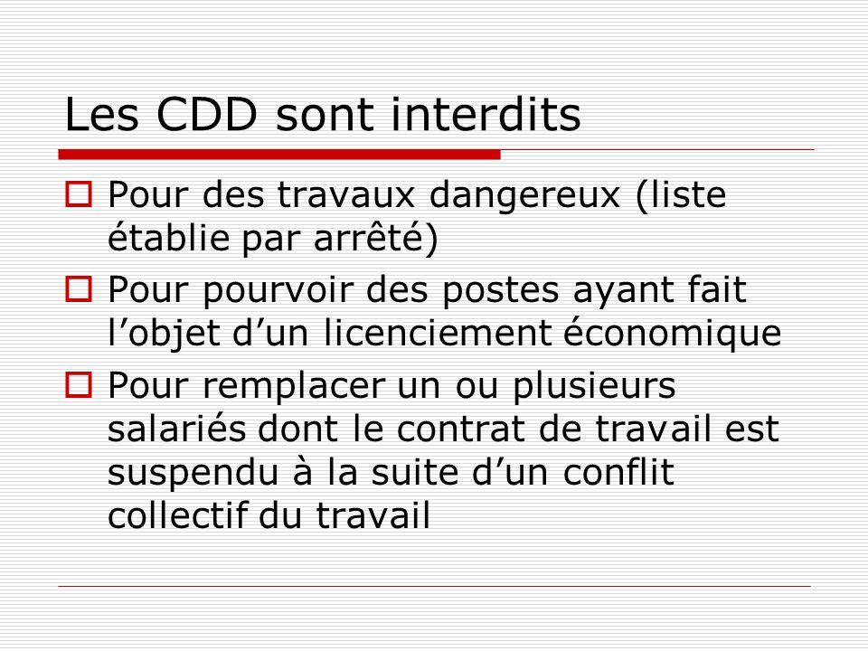 Les CDD sont interditsPour des travaux dangereux (liste établie par arrêté) Pour pourvoir des postes ayant fait l'objet d'un licenciement économique.