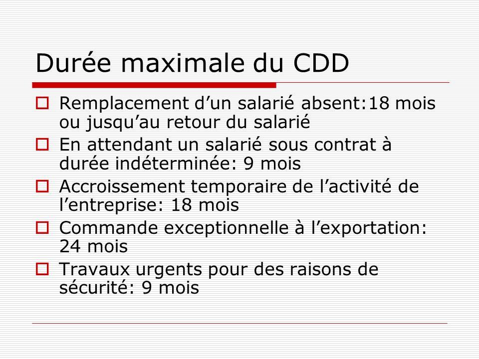 Durée maximale du CDD Remplacement d'un salarié absent:18 mois ou jusqu'au retour du salarié.