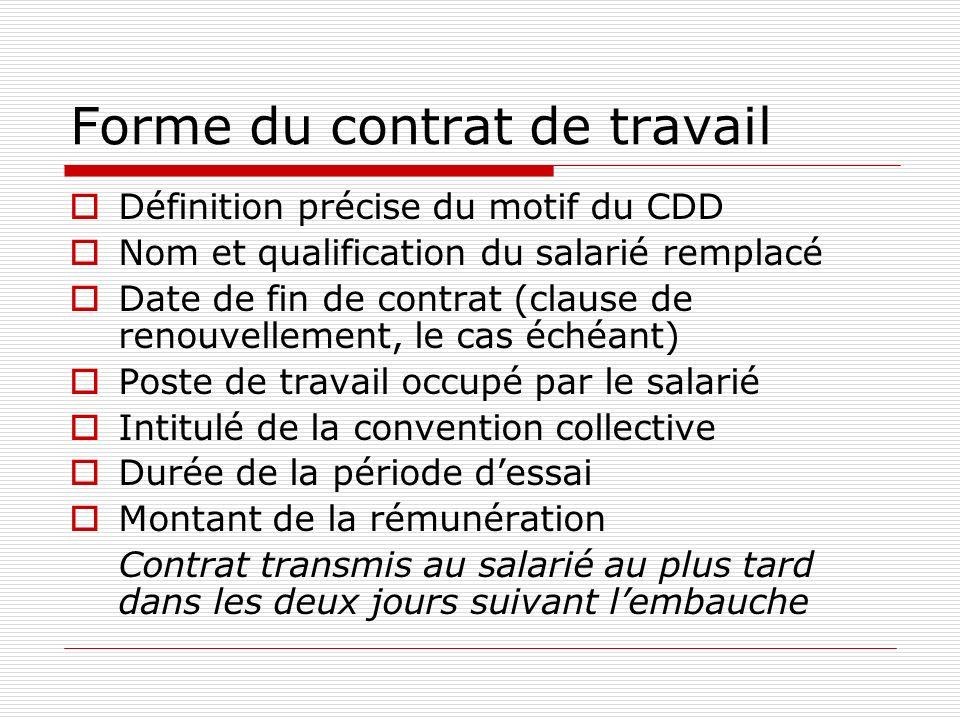 Forme du contrat de travail