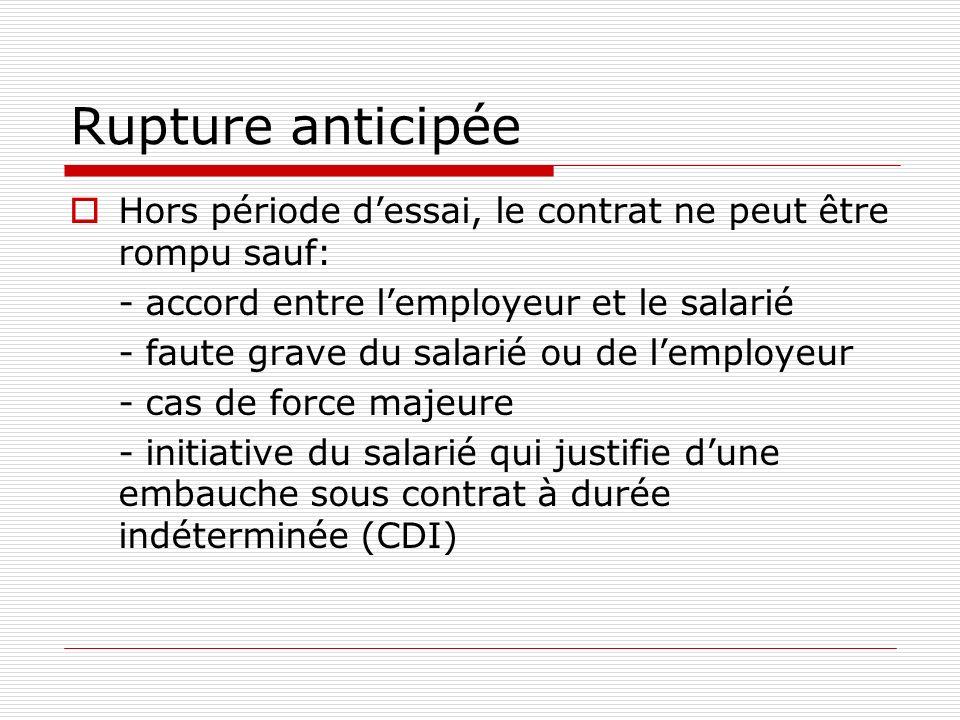 Rupture anticipéeHors période d'essai, le contrat ne peut être rompu sauf: - accord entre l'employeur et le salarié.