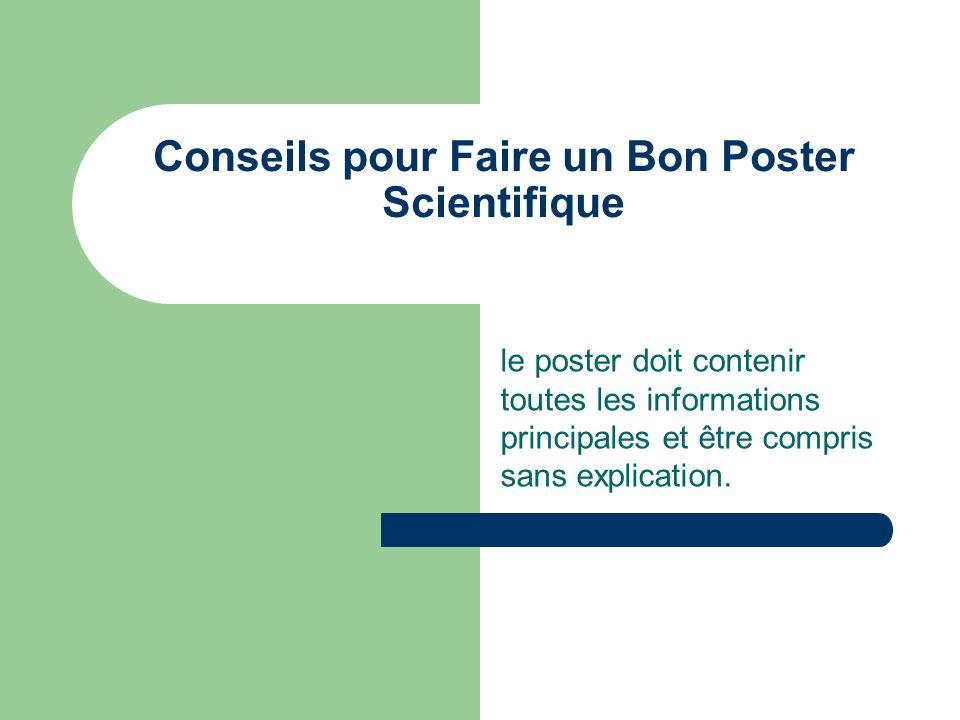 Conseils pour Faire un Bon Poster Scientifique