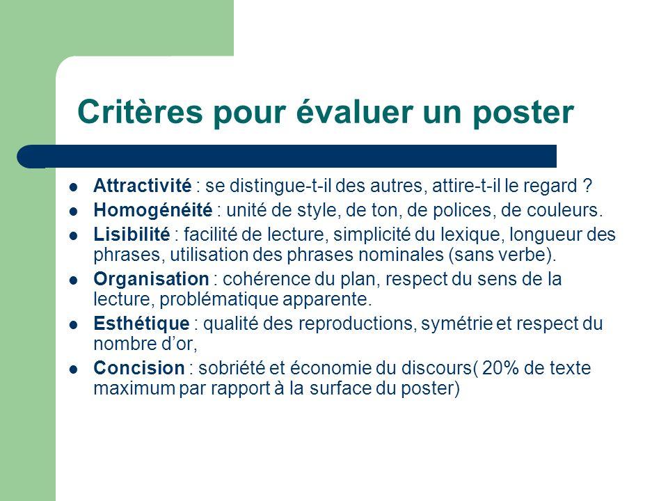Critères pour évaluer un poster