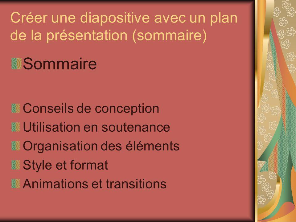 Créer une diapositive avec un plan de la présentation (sommaire)