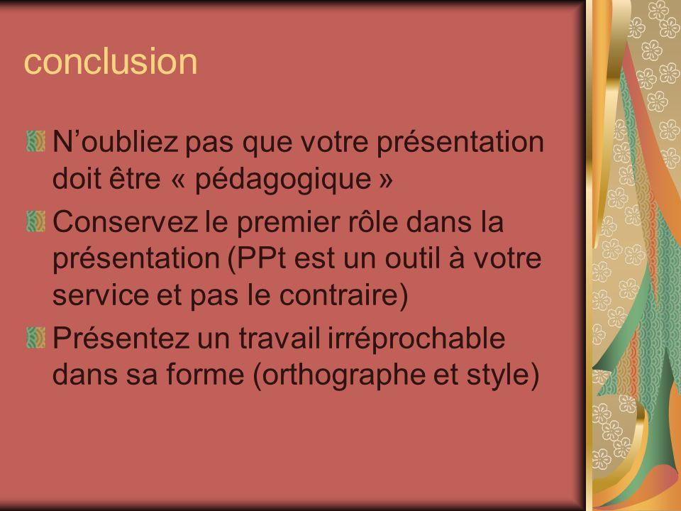 conclusion N'oubliez pas que votre présentation doit être « pédagogique »